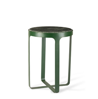 Furniture - Coffee Tables - Stoner End table - / Ø 40 x H 54 cm - Travertine stone & metal by Pols Potten - Green stone / Green metal - Lacquered iron, Travertine stone