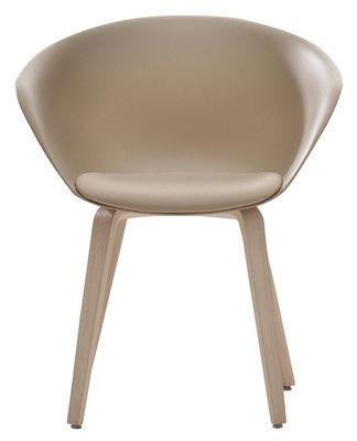 Chaise Duna 02 / Pieds bois - Coussin d´assise - Arper chêne blanchi,sable en matière plastique