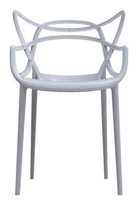 Mobilier - Chaises, fauteuils de salle à manger - Fauteuil empilable Masters / Plastique - Kartell - Gris clair - Polypropylène
