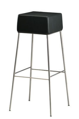 Furniture - Bar Stools - Manhattan High stool - H 82 cm - Padded leather seat by Zeus - Black / Metal - Foam, Leather, Stainless steel