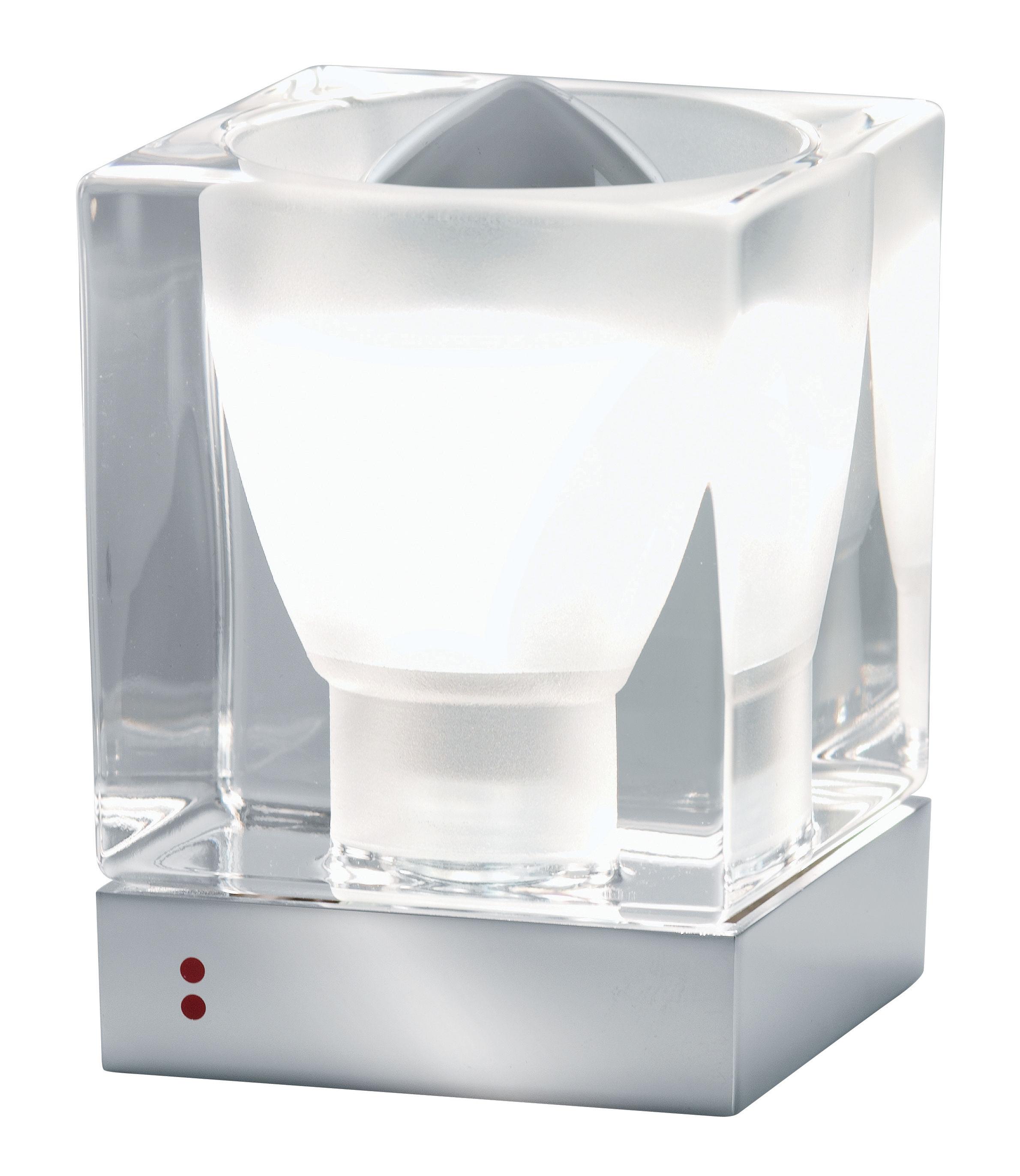 Illuminazione - Lampade da tavolo - Lampada da tavolo Cubetto - Crystal Glass di Fabbian - Trasparente - Metallo cromato, Vetro