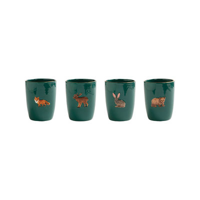 Tableware - Coffee Mugs & Tea Cups - Forest Animal Mug - / Set of 4 - Hand-painted porcelain by & klevering - Green - China