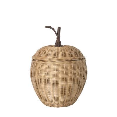 Panier Apple Small / Osier - Ø 20 x H 28 cm - Ferm Living beige/bois naturel en fibre végétale/bois