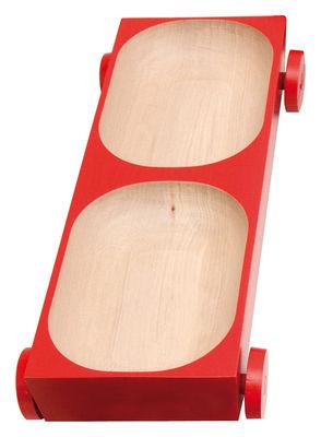 Arts de la table - Plats - Plat Kart - K05 sur roues / 39 x 13,5 cm - Y'a pas le feu au lac - Rouge - Bois de charme