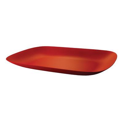 Plateau Moiré Acier 45 x 34 cm Alessi rouge en métal