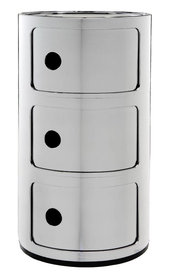 Arredamento - Raccoglitori - Portaoggetti Componibili - / 3 cassetti - Metallizzato di Kartell - Chromé - ABS