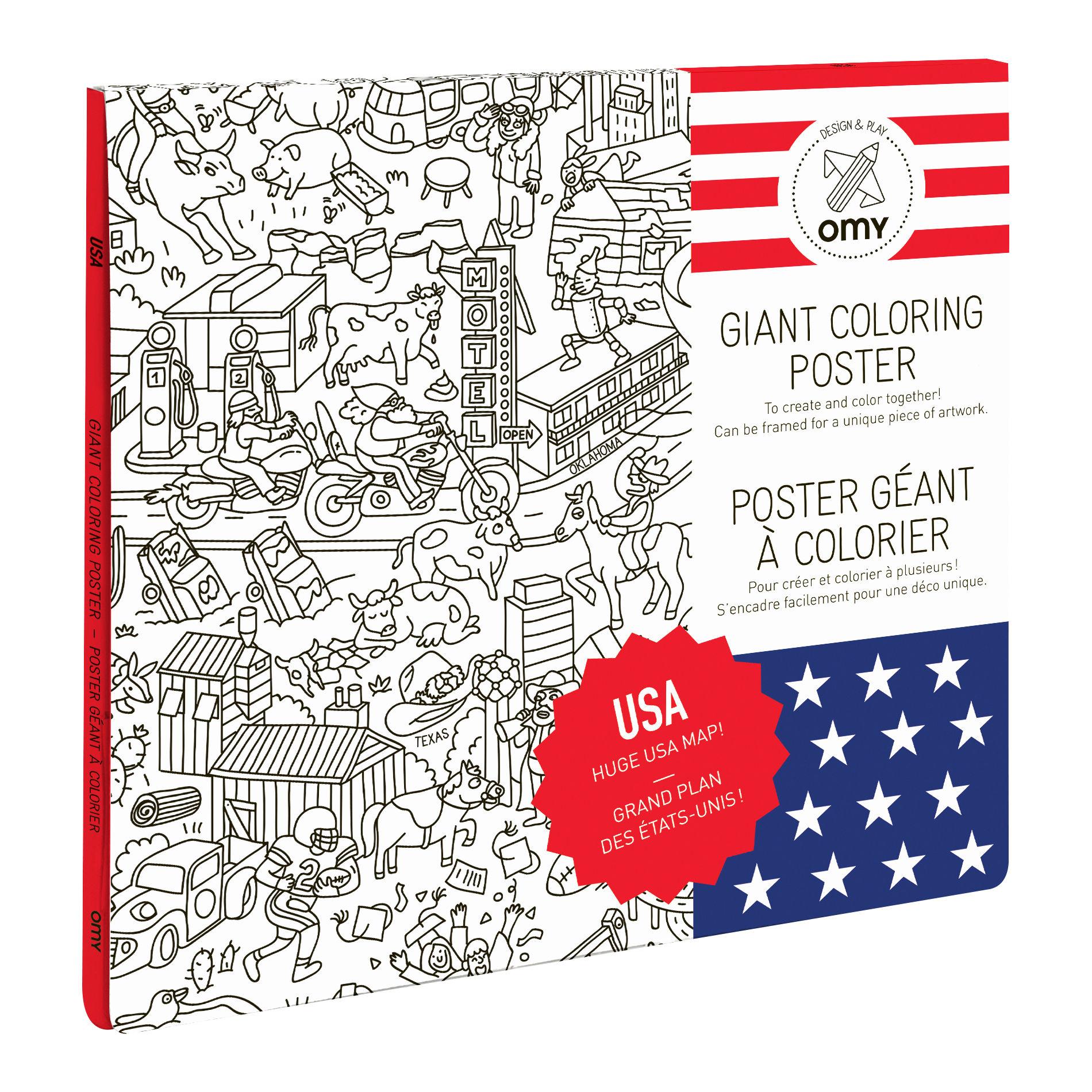 Déco - Pour les enfants - Poster à colorier USA / 100 x 70 cm - OMY Design & Play - USA - Papier recyclé
