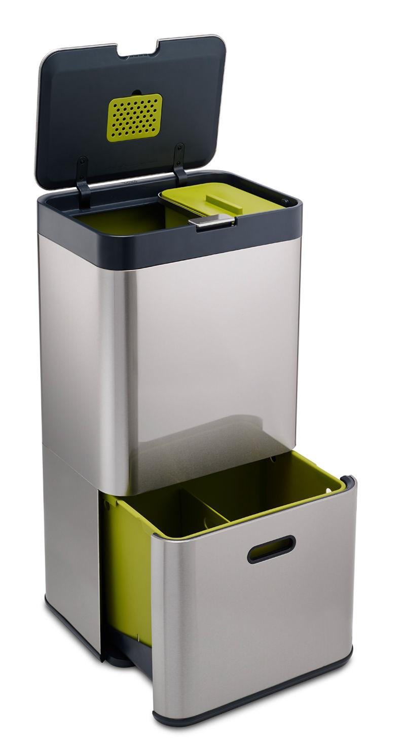 poubelle de tri totem 60s 60 litres 4 bacs amovibles inox joseph joseph made in design. Black Bedroom Furniture Sets. Home Design Ideas