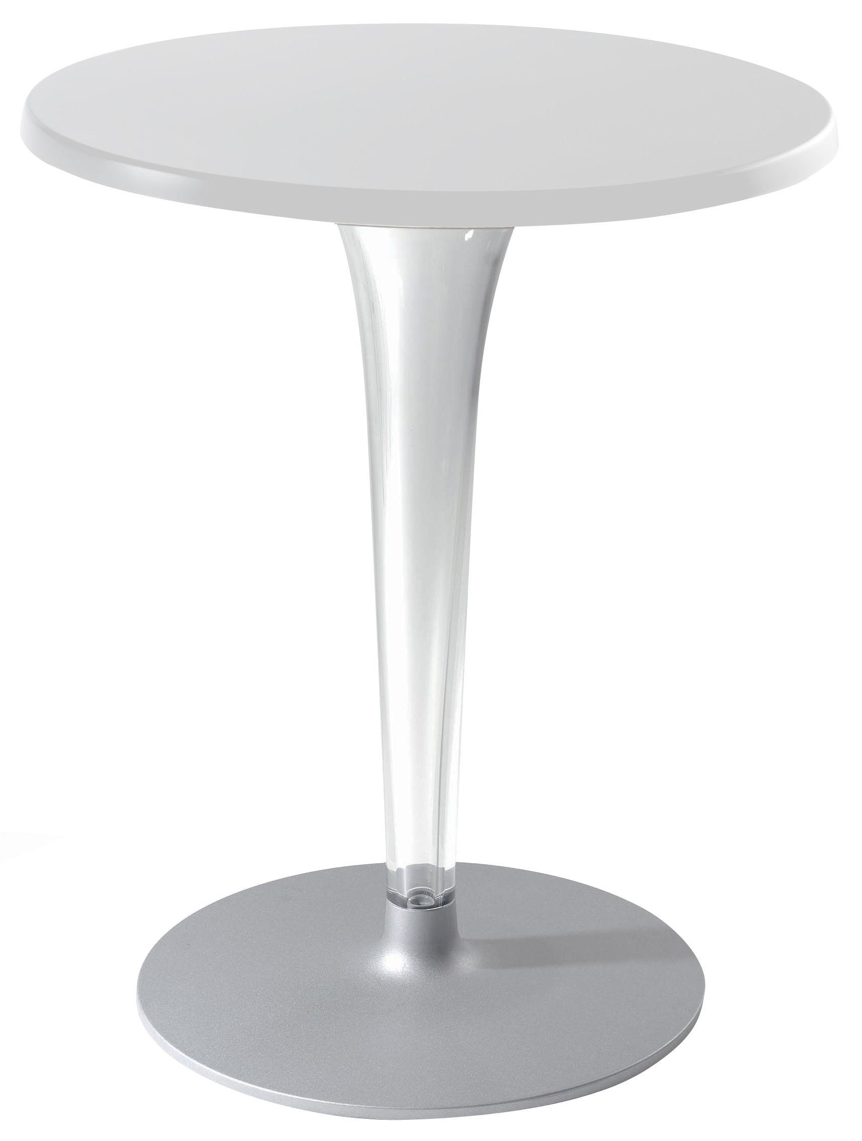 Outdoor - Tische - Top Top - Contract outdoor Runder Tisch mit runder Tischplatte - Kartell - Weiß / Fuß rund - klarlackbeschichtetes Aluminium, Melamin, PMMA