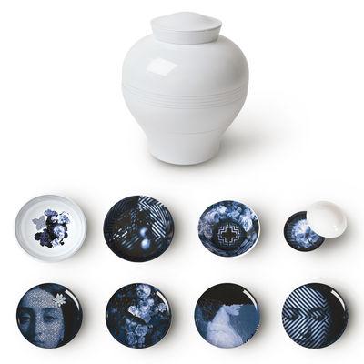 Tavola - Piatti  - Servizio da tavola Yuan Osorio - / Set 8 elementi impilabili di Ibride - Grafiche grigio-blu / Esterno bianco - Melamina