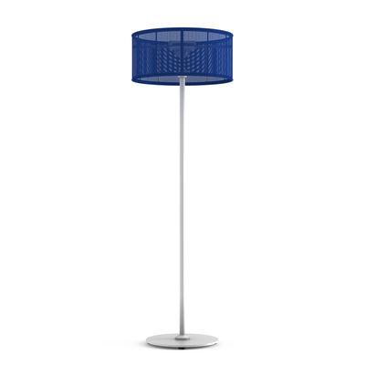 Lighting - Floor lamps - La Lampe Padère LED Solar floorlamp - / Hybrid & connected - Solar charging + USB dock by Maiori - Navy blue / White base - Aluminium, Batyline® fabric