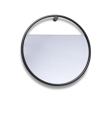 Interni - Specchi - Specchio murale Peek Small - / Rotondo - Ø 40 cm di Northern  - Rotondo / nero - Acciaio laccato, Vetro colorato
