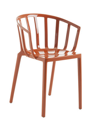 Furniture - Chairs - Generic AC Venice Stackable armchair - / Polycarbonate by Kartell - Orangey-red - Polycarbonate