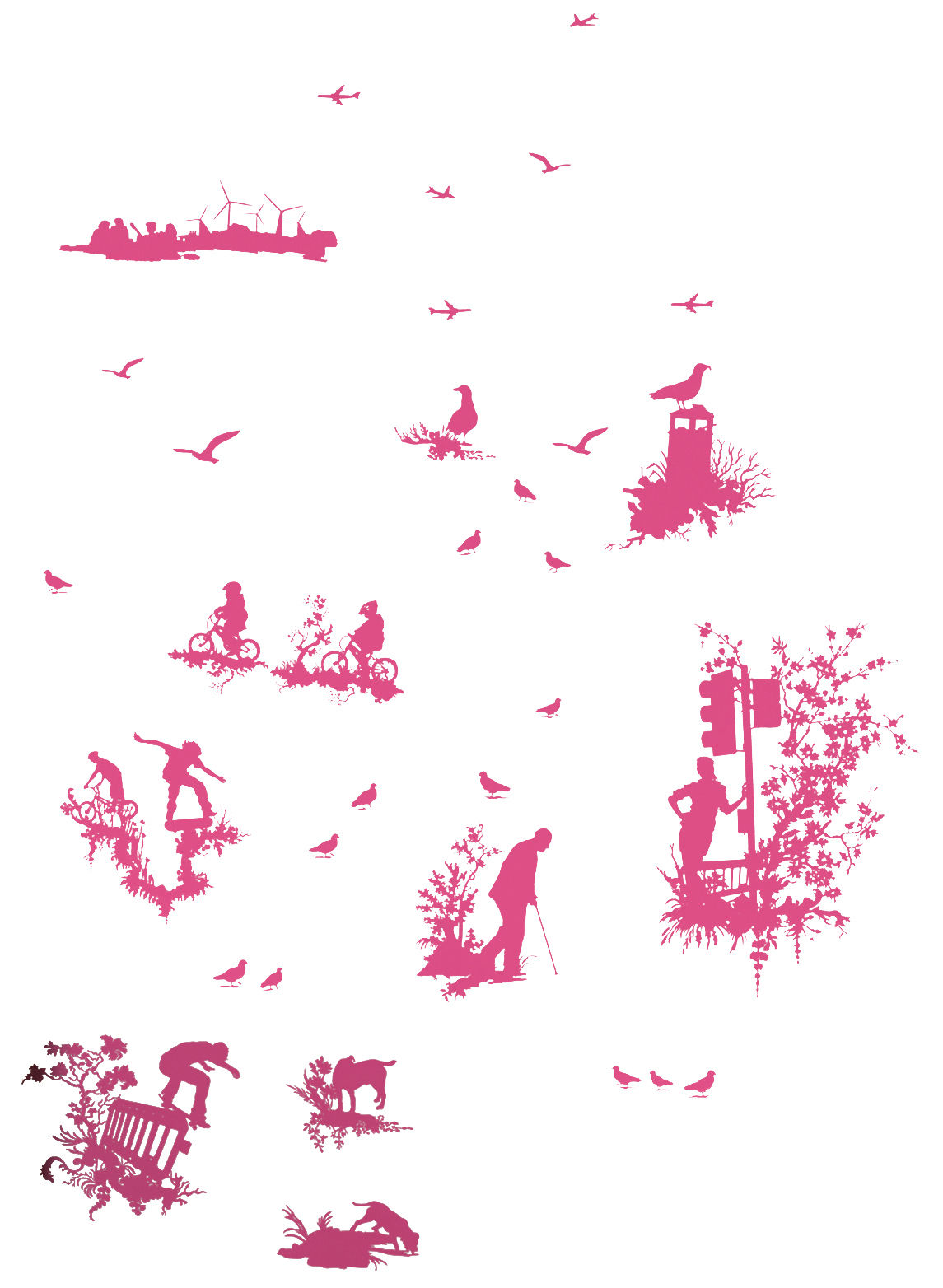Decoration - Wallpaper & Wall Stickers - Silhouette Toile Sticker by Domestic - Pink - Vinal