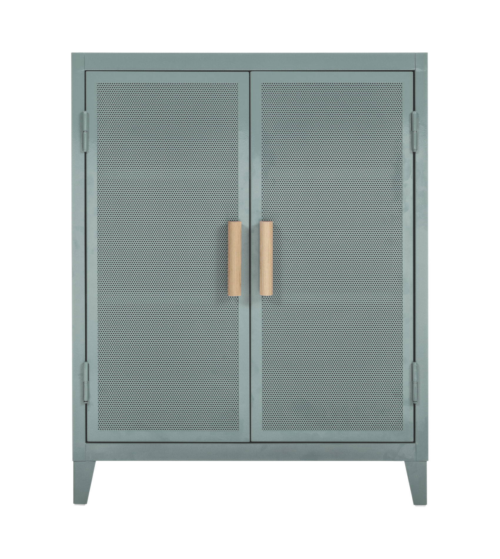 Furniture - Shelves & Storage Furniture - The low cloakroom - 2 doors / Perforated steel & wood by Tolix - Lichen green / Oak handles - Lacquered recycled steel, Solid oak