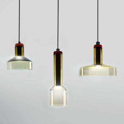 Suspension Stab Light Triple / Set 3 suspensions - Verre artisanal - Danese Light vert-ambre en verre