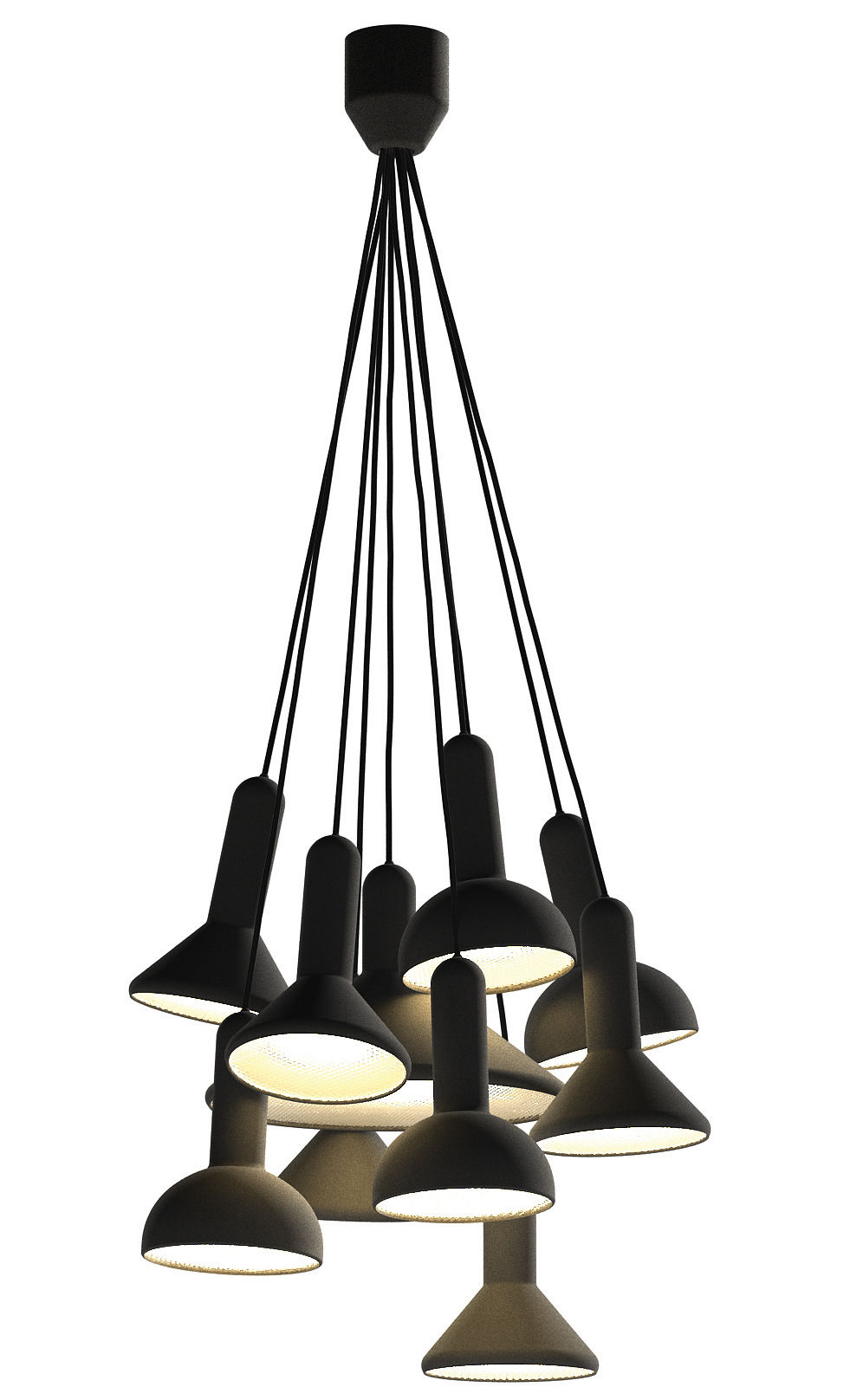 Luminaire - Suspensions - Suspension Torch Light / ensemble de 10 suspensions - Established & Sons - Noir / Câbles noirs - PVC