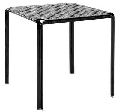 Outdoor - Tables de jardin - Table carrée Ami Ami / 70 x 70 cm - Kartell - Noir brillant - Aluminium, Polycarbonate