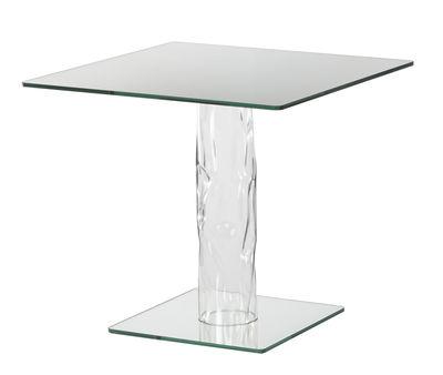 Table carrée Narcissus / 80 x 80 cm - Plateau & base miroir - Glas Italia transparent,miroir en verre
