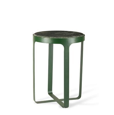 Mobilier - Tables basses - Table d'appoint Stoner / Ø 40 x H54 cm - Pierre Travertin & métal - Pols Potten - Pierre verte / Métal vert - Fer laqué, Pierre Travertin