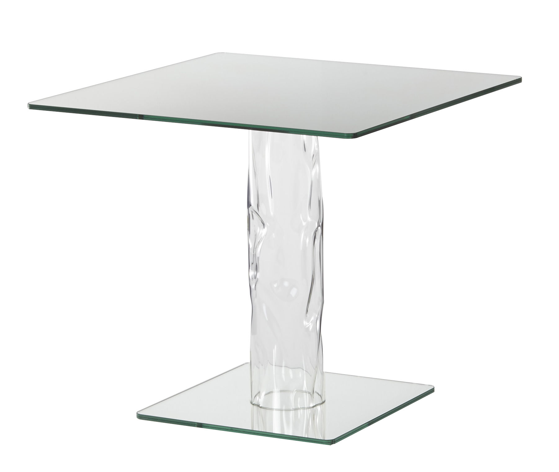 Furniture - Dining Tables - Narcissus Table - 80 x 80 cm - Mirror top and base by Glas Italia - Mirror / Transparent leg - Borosilicated glass, Mirror