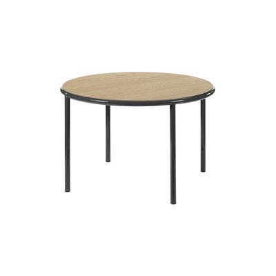 Table ronde Wooden / Ø 120 cm - Chêne & acier - valerie objects noir/bois naturel en bois