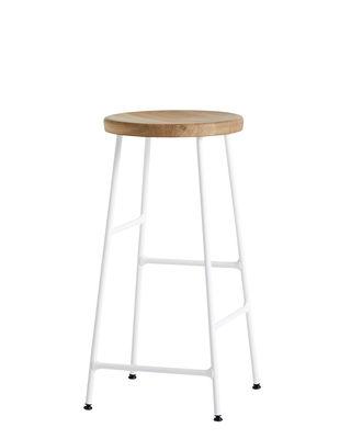 Tabouret de bar Cornet / H 65 cm - Bois & métal - Hay blanc,chêne clair en métal