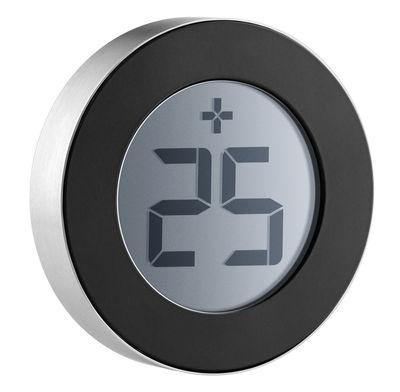 Outdoor - Deko-Accessoires für den Garten - Thermometer für den Außeneinsatz / Ø 7,7 cm - Eva Solo - Schwarz / Rückseite aus Stahl - Plastik, rostfreier Stahl