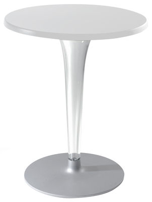 Outdoor - Tables de jardin - Table ronde Top Top - Contract outdoor / Ø 70 cm - Kartell - Blanc/ pied rond - Aluminium verni, Mélamine, PMMA