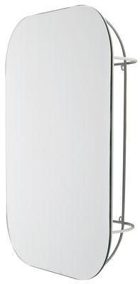 Dekoration - Spiegel - Cage Wandspiegel / mit integriertem Staufach - L 42 x H 54 cm - Menu - Gestell weiß / Spiegel - lackiertes Metall
