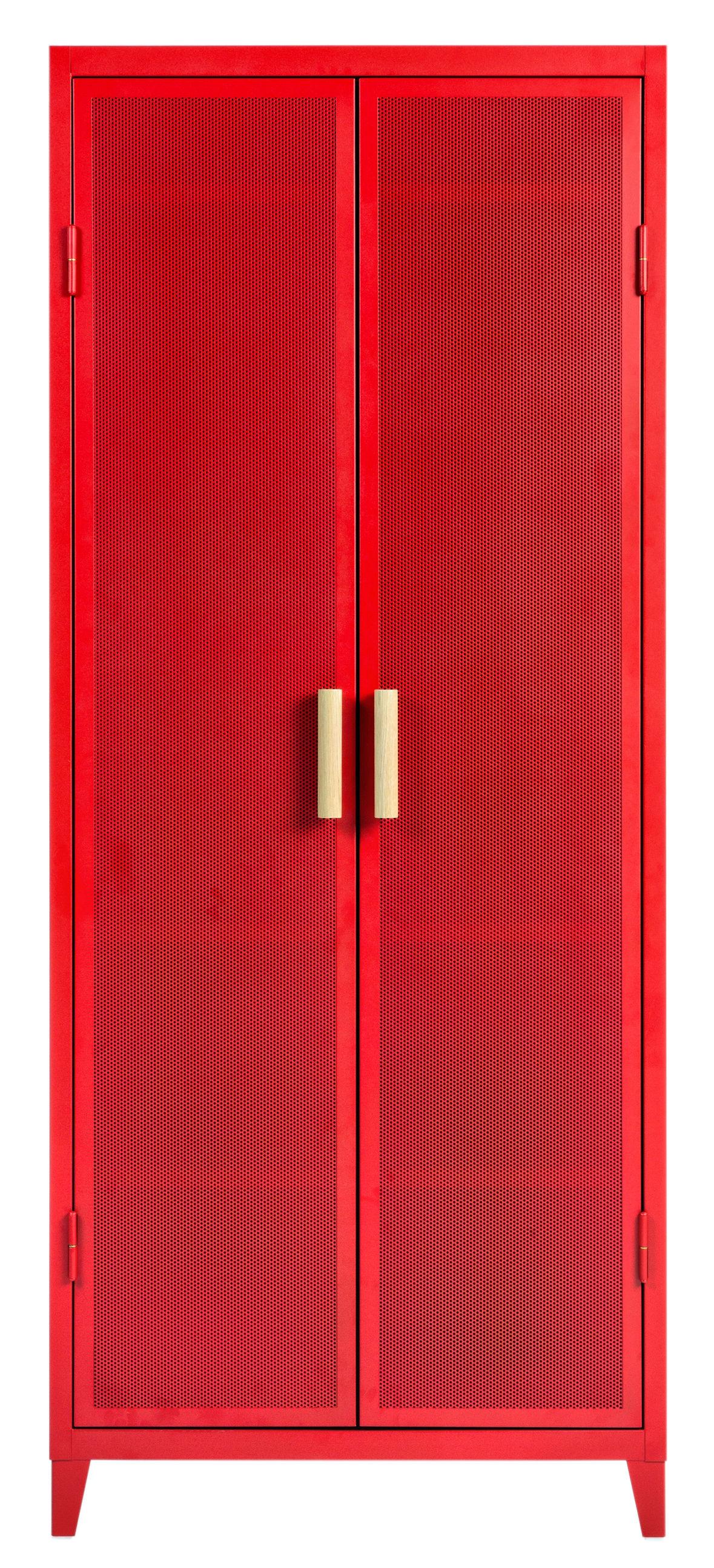 Möbel - Aufbewahrungsmöbel - Vestiaire Penderie Ablage / 2 Türen - Lochblech & Holz - Tolix - Rot / Griff Eiche - Lackierter recycelter Stahl, massive Eiche