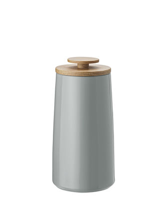 Tableware - Tea & Coffee Accessories - Emma Airtight box - / For tea  - 0.8 L by Stelton - Grey / 0.8 L - Beech wood, Enamelled sandstone