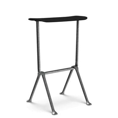 Furniture - Dining Tables - Officina Bar stool - Polypropylène /  H 65 cm by Magis - Black leather / Galvanized metal - Galvanised steel, Leather, Polypropylene