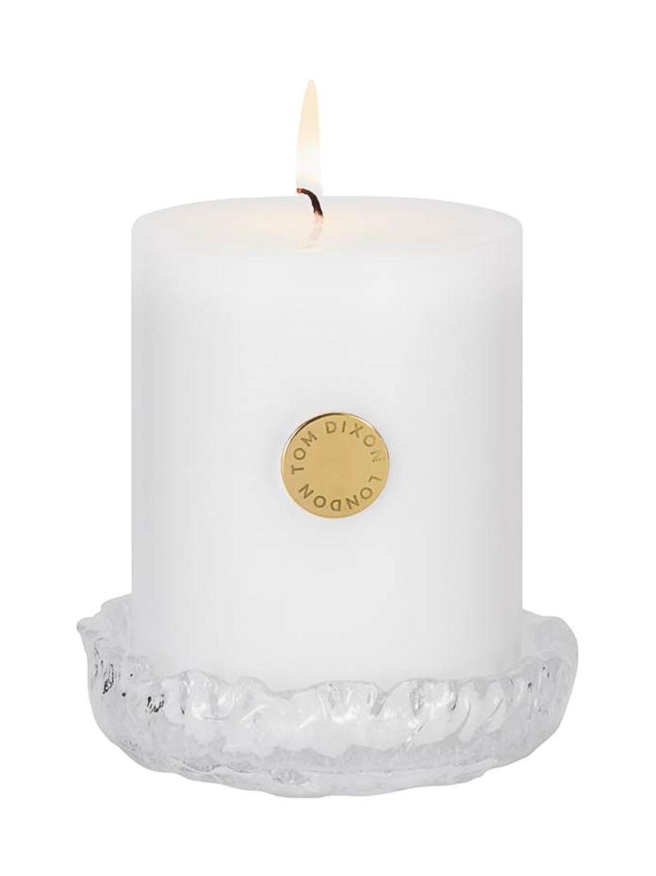 Déco - Bougeoirs, photophores - Bougie parfumée Quartz Pillar / Set bougie + bougeoir verre - Tom Dixon - Translucide / Bougie blanche - Cire, Verre moulé