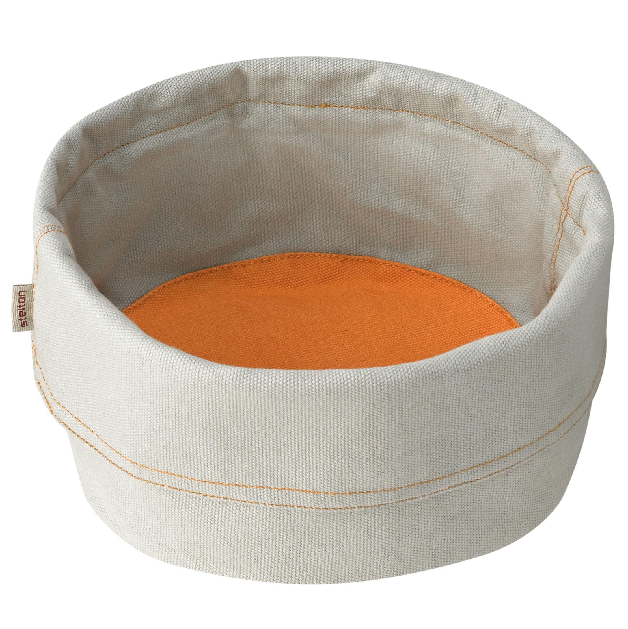 Tischkultur - Körbe, Fruchtkörbe und Tischgestecke - Bread Bag Brotkorb - Stelton - Grau / Safran-Orange - Coton biologique