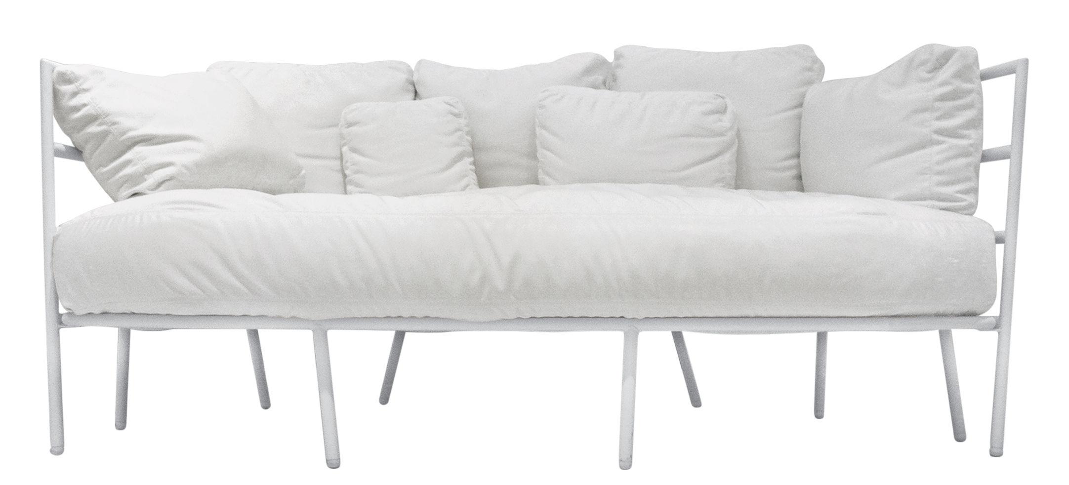 Mobilier - Canapés - Canapé droit Dehors /  2 places - L 173 cm - Alias - Structure blanche / Coussins blancs - Acier laqué, Tissu acrylique