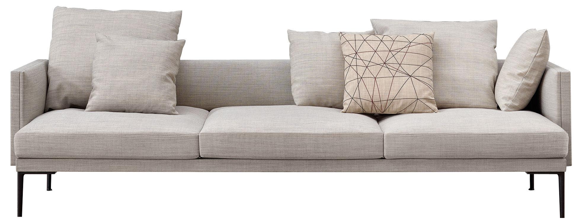 Mobilier - Canapés - Canapé droit Steeve / Tissu 3 places - L 243 cm - Avec accoudoirs - Arper - Tissu écru - Aluminium, Tissu