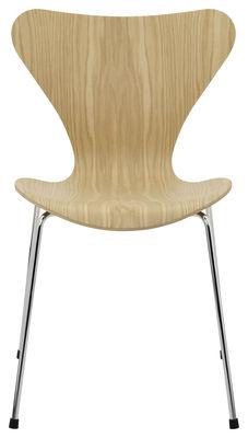 Mobilier - Chaises, fauteuils de salle à manger - Chaise empilable Série 7 / Bois naturel - Fritz Hansen - Chêne - Acier, Contreplaqué de chêne verni