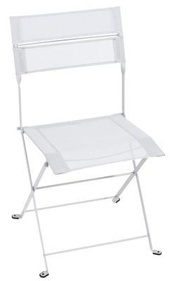 Mobilier - Chaises, fauteuils de salle à manger - Chaise pliante Latitude / Toile - Fermob - Blanc coton - Acier laqué, Toile polyester