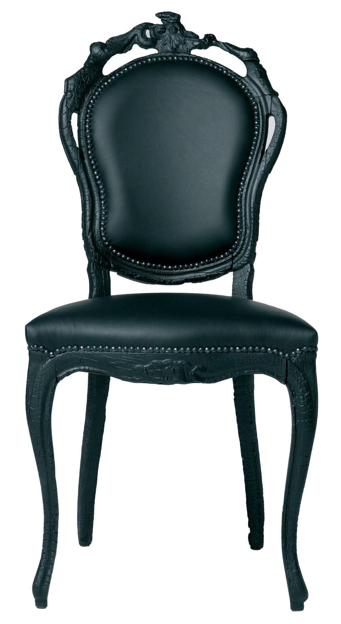 Chaise Rembourre Smoke Chair Bois Cuir Noir