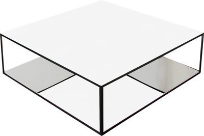 Furniture - Coffee Tables - Double Skin Coffee table by Zeus - White glass & polished stainless steel - Laquered glass, Painted steel, Polished steel