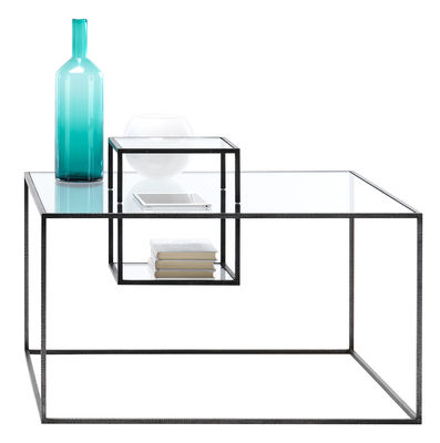 Furniture - Coffee Tables - Illusioni Coffee table - / 90 x 90 cm by Mogg - Transparent / Black - Glass, Metal