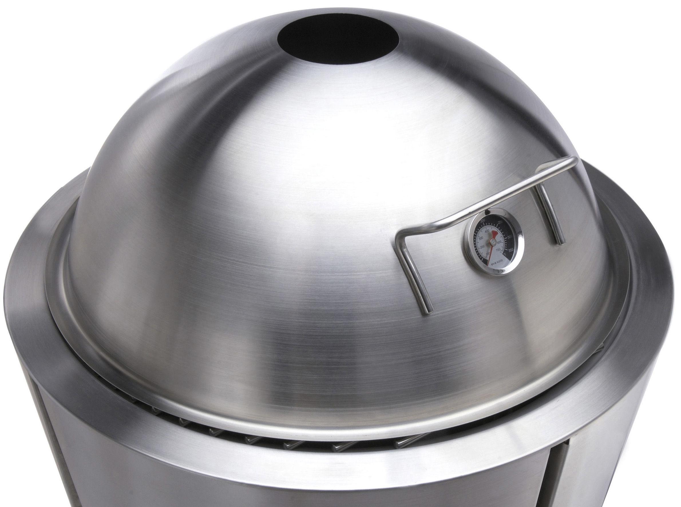 Outdoor - Barbecues et braséros - Couvercle-dôme avec thermomètre Ø 60 cm / Pour barbecue à charbon Eva Solo Ø 59 cm - Eva Solo - Inox - Acier inoxydable