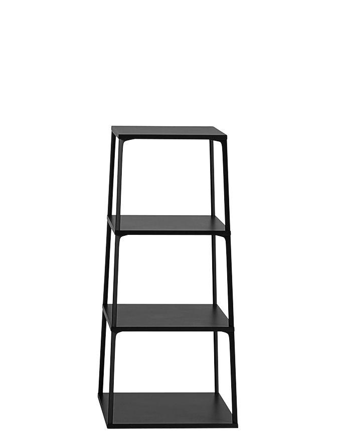 Mobilier - Etagères & bibliothèques - Etagère Eiffel / 4 plateaux - H 110 cm - Hay - Noir - Aluminium laqué, MDF laqué