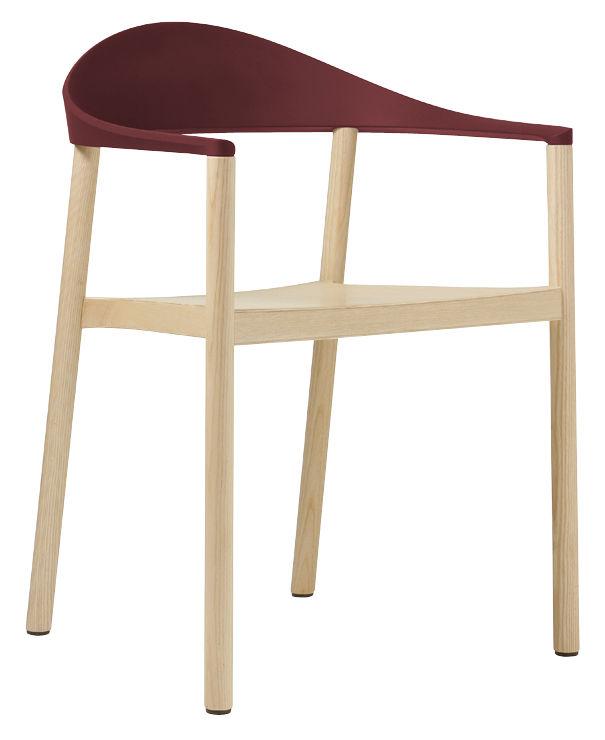 Mobilier - Chaises, fauteuils de salle à manger - Fauteuil empilable Monza / Plastique & bois - Plank - Bois naturel / Dossier bordeaux - Frêne verni, Polypropylène