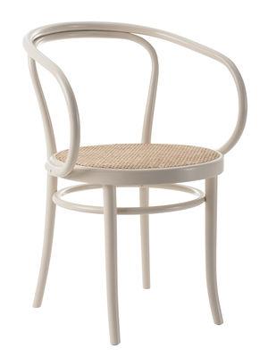 Mobilier - Chaises, fauteuils de salle à manger - Fauteuil Wiener Stuhl / Assise cannée - Réédition 1904 - Wiener GTV Design - Assise paille / Blanc - Hêtre massif cintré, Paille