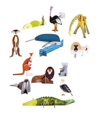 Déco - Pour les enfants - Figurine à construire Play! Animaux sauvages / 11 figurines en carton - studio ROOF - Animaux sauvages / Multicolore - Carton recyclé