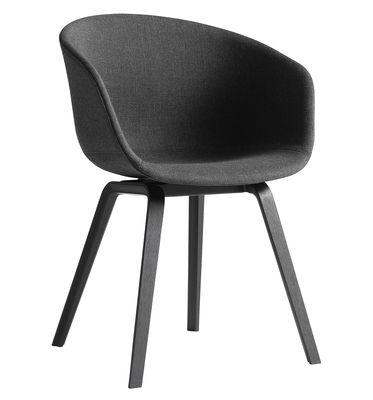 Möbel - Stühle  - About a chair AAC 23 Sessel - Stoff - 4 Füße - Hay - Gestell Esche schwarz gebeizt - Bezug dunkelgrau - getöntes Eichenholzfurnier, Gewebe, Polypropylen, Schaumstoff
