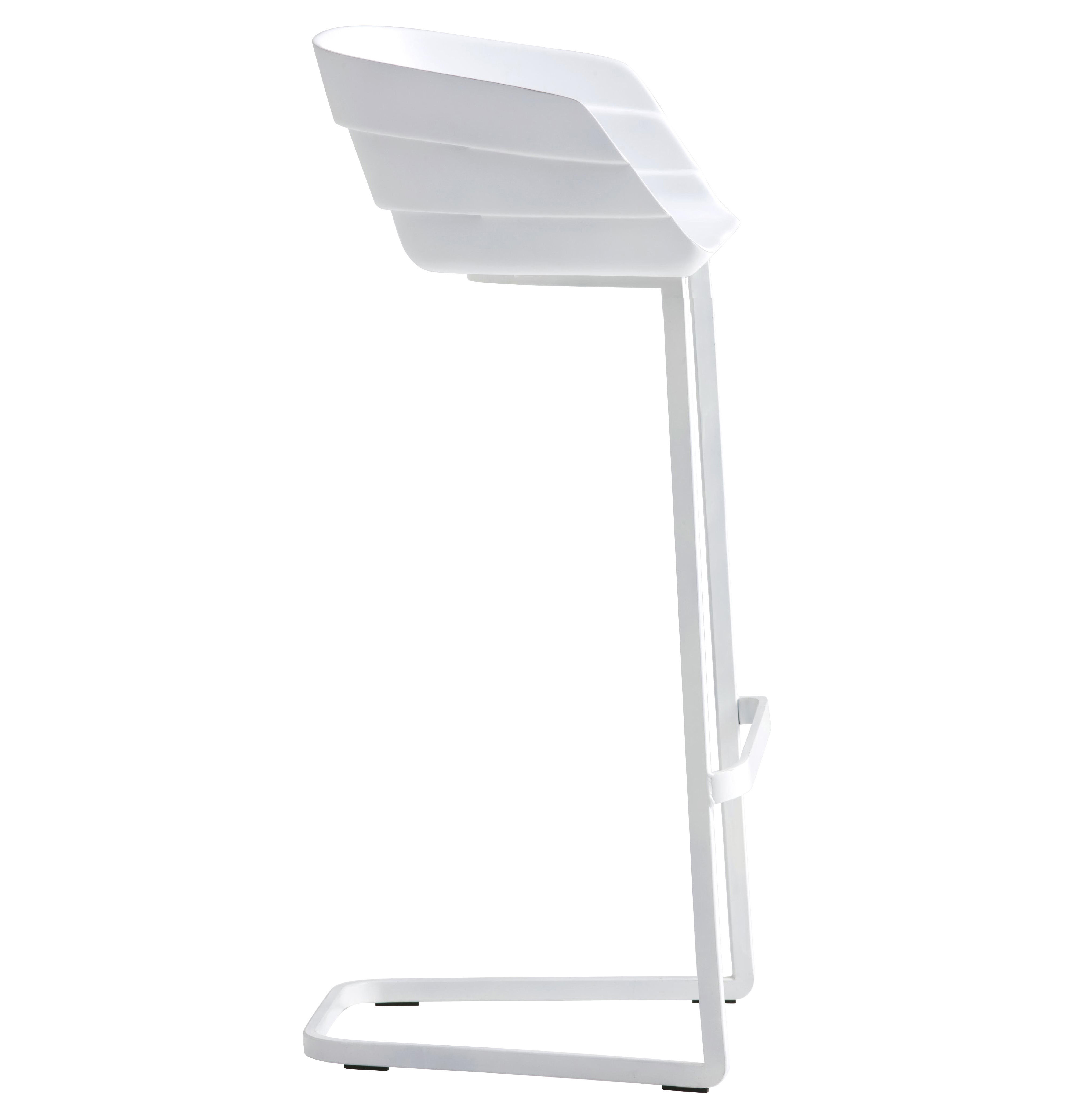 Möbel - Barhocker - Rift Hochstuhl H 77 cm - Freischwinger - Moroso - Weiß - Gestell weiß - gefirnister Stahl, Polyurhethan