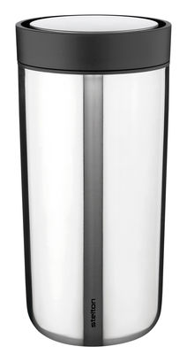 Tableware - Coffee Mugs & Tea Cups - To Go Click Insulated mug - With lid - 34 cl by Stelton - Steel - Plastic, Stainless steel